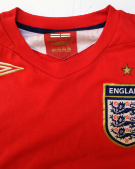 2006-2008 ENGLAND Away Football Shirt L Large Red Umbro