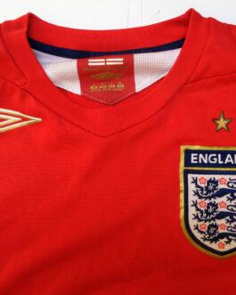 2006-2008 ENGLAND Away Football Shirt L Large Red Umbro