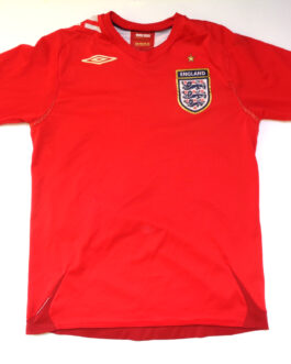 2006-2008 ENGLAND Away Football Shirt S Small Red Umbro