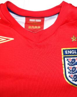 2006-2008 ENGLAND Away Football Shirt S Small Red Umbro