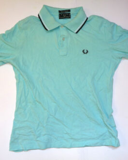 FRED PERRY Polo Shirt Casual Classic Mint Green Size L Large SPECIAL EDITION 42″