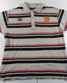 1995/96 MANCHESTER UNITED Polo Shirt L Large Grey Umbro