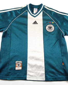 1998/00 GERMANY Away Football Shirt LB Large Boys Green Adidas