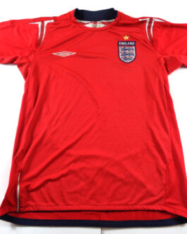 2004/06 ENGLAND Away Football Shirt S Small Red Umbro