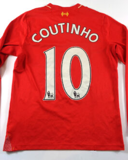 2015/16 LIVERPOOL Home Long Sleeve Shirt MB Medium Boys Red New Balance #10 Coutinho