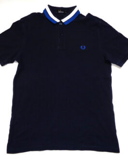 FRED PERRY Polo Shirt Casual Classic Navy Blue YXL Young XL