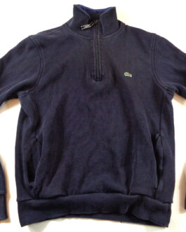 LACOSTE Vintage Tracksuit Sweatshirt Navy Blue Zipped Casual Clasic M Medium