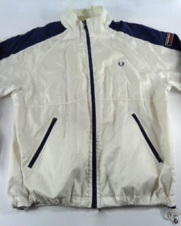 FRED PERRY Windbreaker Vintage Track Jacket Casual Classic White Size M Medium