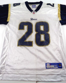 St. Louis RAMS NFL Shirt Reebok M Medium Jersey Navy White #28 Marshall Faulk
