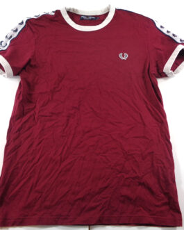 FRED PERRY T-Shirt Casual Classic Maroon Red Size S Small
