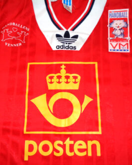 1993 NORWAY Woman Handball Shirt Jersey Size L Large Red Adidas WORLD CUP NORGE