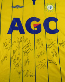 TEPLICE FK Home Football Shirt L Large Yellow Umbro Czech Republic SIGNED