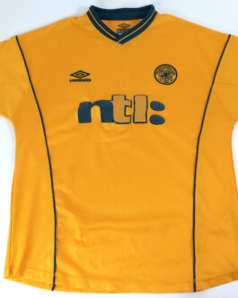 2000/02 CELTIC GLASGOW Football Away Shirt M Medium Yellow Umbro