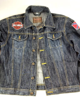 HARLEY DAVIDSON United States Sweden Motorcycle Jeans Jacket XS Extra Small 164
