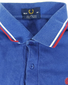 FRED PERRY Polo Shirt Casual Classic Blue Size M Medium