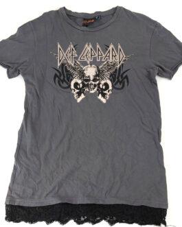 DEF LEPPARD Women Music T-Shirt Casual Classic Grey Size M Medium