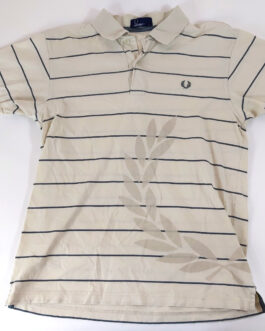 FRED PERRY Polo Shirt Casual Classic Beige Stripes S Small