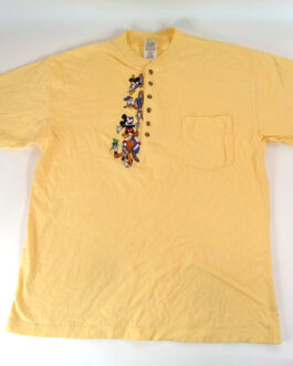 DISNEY T-Shirt Mickey Mouse Donald Duck Goofy Yellow Size XL Extra Large