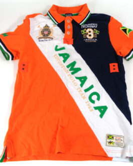 GEOGRAPHICAL NORWAY JAMAICA Polo Shirt Casual Classic Orange Size L Large #3