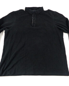 FRED PERRY Polo Shirt Casual Classic White Black L Large Long Sleeved
