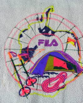 FILA Vintage 90s Quarter Button Fleece Jacket Ski Team Polartec XL Extra Large