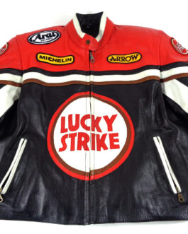 Vintage LUCKY STRIKE Rare Motorcycle Racing Leather Jacket Black XL Extra Large