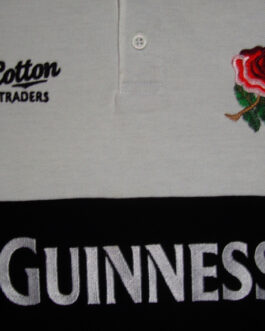 ENGLAND Rugby Union Polo Shirt Jersey Vintage Black M Medium Cotton Traders